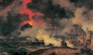 Illustration of the smoke and ash over Pompeii